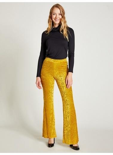 Vekem-Limited Edition Yüksek Bel İspanyol Paça Pantolon Sarı